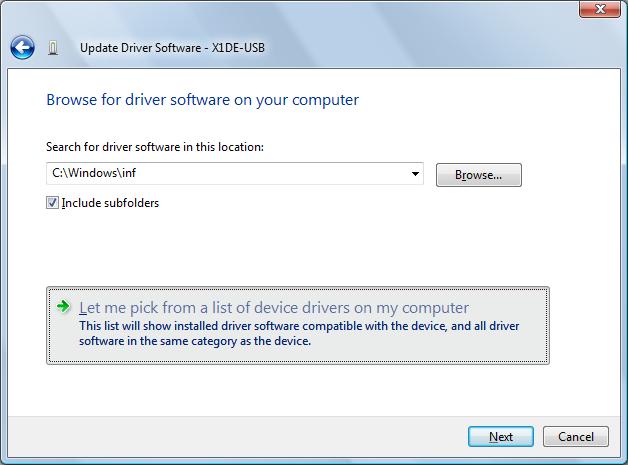 X1DE-USB DRIVER PC